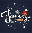 january sale knitted hat and snowflakes vector image vector image