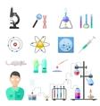 Laboratory symbols chemistry icons vector image