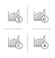 market growth charts linear icons set vector image