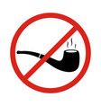 no smoking sign with tobacco pipe symbols no vector image vector image