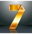 Number metal gold ribbon - 7 - seven vector image vector image
