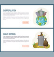 overpopulation and waste disposal websites set vector image vector image