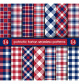 patriotic tartan set of white blue red seamless vector image