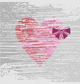 pink heart with a lilac bow vector image vector image