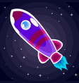 purple space rocket with red stripes and a vector image vector image