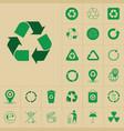 recycle waste symbol green arrows logo set web vector image vector image