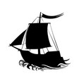 sailing ship silhouette pirate boat and sea vector image