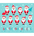 Santa Claus character Emotions icon set Merry vector image