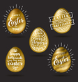 set golden eggs with easter greetings vector image vector image