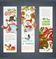 set of cartoon vertical christmas banners vector image