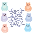 set sitting funny fat cats pastel colors on white vector image vector image