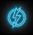 shining and glowing blue lightning neon sign vector image