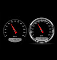 speedometers round black gauge with and without vector image vector image