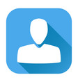user icon white silhouette on blue square vector image