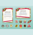 white modern certificates with abstract red ribbon vector image vector image