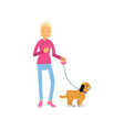 blonde teen girl walking with her dog colorful vector image