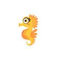 cute orange seahorse funny sea creature hand vector image