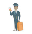 african steward showing passport and ticket vector image vector image