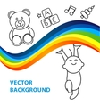 background of joyful baby holds rainbow vector image vector image