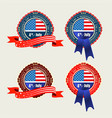badge with usa flag and blue and red ribbons vector image vector image