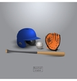 Baseball helmet bit glove and ball vector image vector image