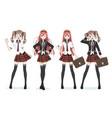 beautiful anime manga schoolgirl in skirt vector image vector image