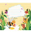 bees with floral vector image vector image