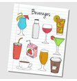 beverages doodles lined paper colored vector image vector image