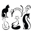 Black cat silhouette collections vector