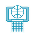 blue basket ball in the hoop cartoon vector image vector image