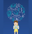 boy student with education icons vector image vector image