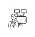 businessman with computer network hand drawn vector image vector image