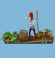 cartoon man pirate on a boat with treasures vector image