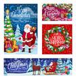 christmas santa deer sleigh winter holiday gifts vector image vector image