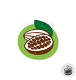 Cocoa pod with beans badge symbol vector image vector image