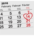 February 14 2016 Valentines Day calendar vector image vector image