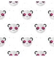 flat cartoon panda in love seamless pattern vector image vector image