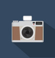 flat style vintage camera with long shadows vector image vector image