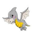 funny cartoon flying baby pterosauria vector image