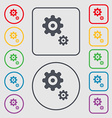 gears icon sign symbol on the Round and square vector image vector image