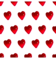 Glossy red hearts seamless pattern background vector image