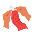 hands knitting hobneedle and woolen threads vector image