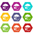 insurance fly icons set 9 vector image vector image