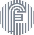 letter line f alphabet design vector image