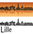 Lille skyline in orange background vector image vector image