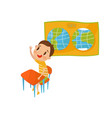 little boy character studying geography at lesson vector image vector image