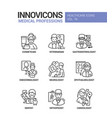 medical professions line design style icons set vector image vector image