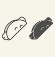 mexican taco line and glyph icon sausage in taco vector image