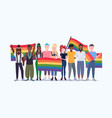 people group holding rainbow flag lgbt pride vector image vector image