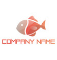 pink fish minimalistic logo on a white background vector image